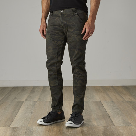 Men's Carpenter Style Jeans // Olive Camo (30WX30L)