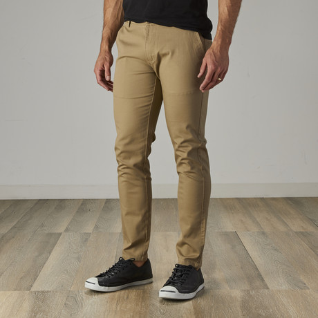 Men's Slim Fit Stretch Chinos // Dark Khaki (30WX30L)
