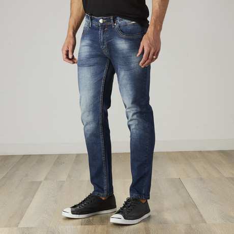 Men's Washed Slim Fit Jeans // Dark Indigo (30WX30L)