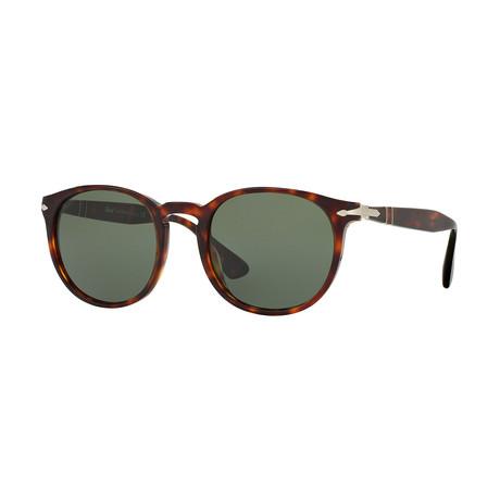 Men's Classic Round Polarized Sunglasses // Havana + Green