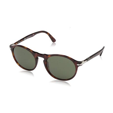 Men's Round Acetate Sunglasses // Havana + Green