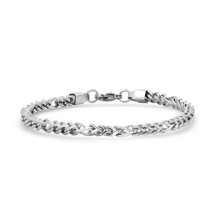 Stainless Steel Figaro Chain Link Bracelet // Silver