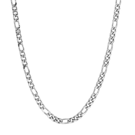 Stainless Steel Figaro Necklace // Silver