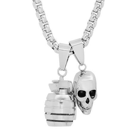 Stainless Steel Skull + Grenade Pendant Necklace // Silver