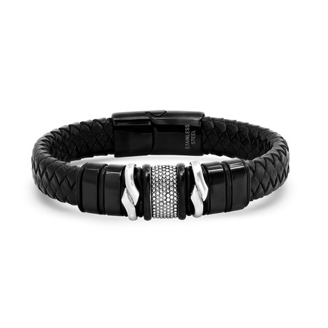 Leather + Stainless Steel Accent Bracelet // Black + Silver