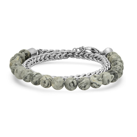 Agate + Stainless Steel Bracelet // Gray + Silver