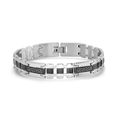 Two-Tone Stainless Steel Bracelet // Silver + Black