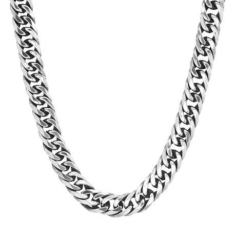 Stainless Steel Cuban Necklace // Silver