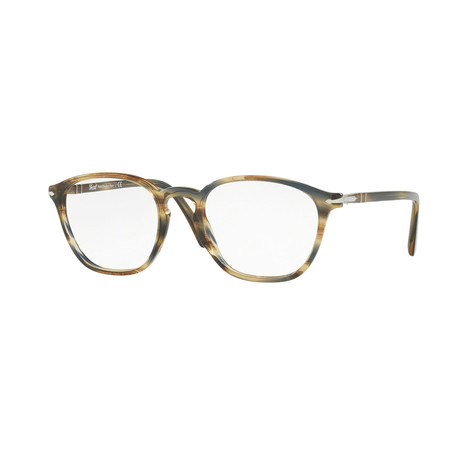 Persol // Men's Round Optical Frames // Striped Brown + Gray