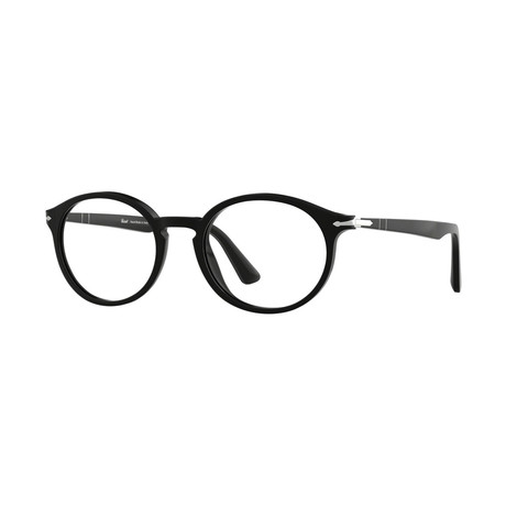 Persol // Men's Round Optical Frames + Straight Bridge // Black