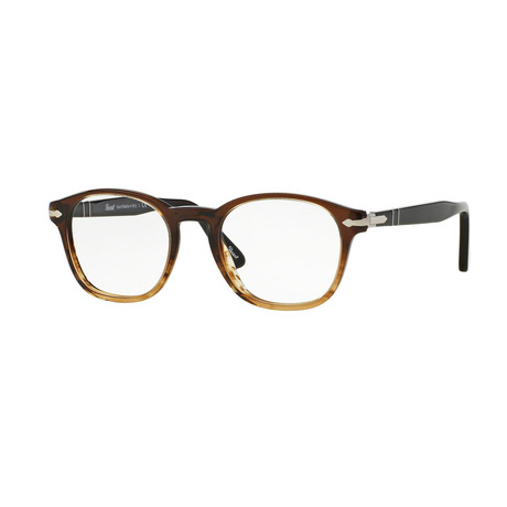 Persol // Men's Round Optical Frames // Striped Brown