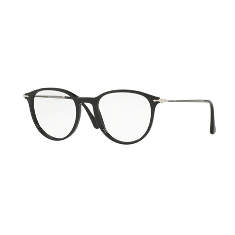 Persol // Men's Round Optical Frames // Black + Silver