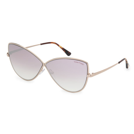 Women's FT0569-28Z Sunglasses // Shiny Rose Gold + Pink Gradient