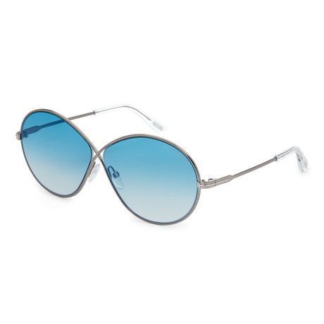 Women's Rania Sunglasses // Shiny Light Ruthenium + Blue Mirror