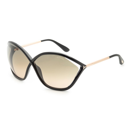 Women's Bella Sunglasses // Shiny Black + Smoke Gradient