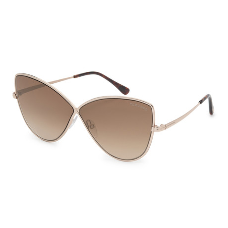 Women's FT0569-28G Sunglasses // Shiny Rose Gold + Brown Mirror