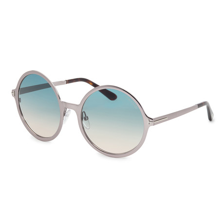 Women's Ava Sunglasses // Shiny Light Ruthenium + Blue Gradient