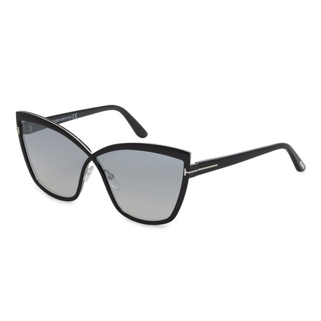 Women's FT0715-01C Sunglasses // Shiny Black + Smoke Mirror