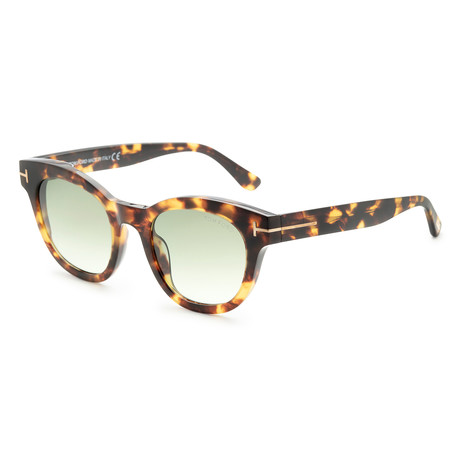 Women's Elizabeth Sunglasses // Colored Havana + Green Gradient