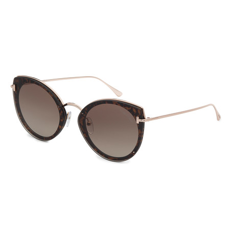Women's FT0683-52K Sunglasses // Dark Havana + Roviex Gradient