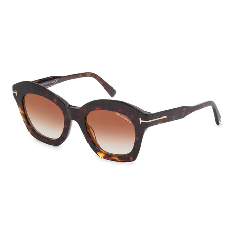Women's FT0689-52F Sunglasses // Dark Havana + Brown Gradient
