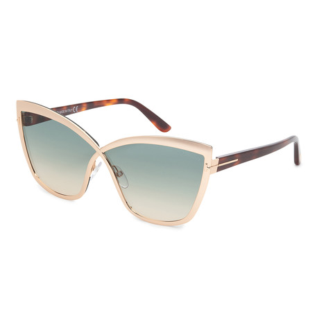 Women's FT0715-28P Sunglasses // Shiny Rose Gold + Green Gradient