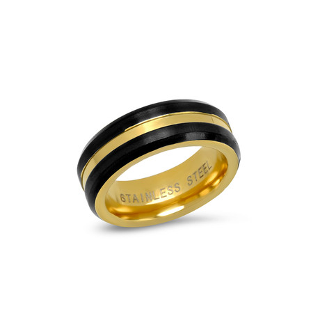 Two-Tone Stainless Steel Band Ring // Black + Gold (Size 9)