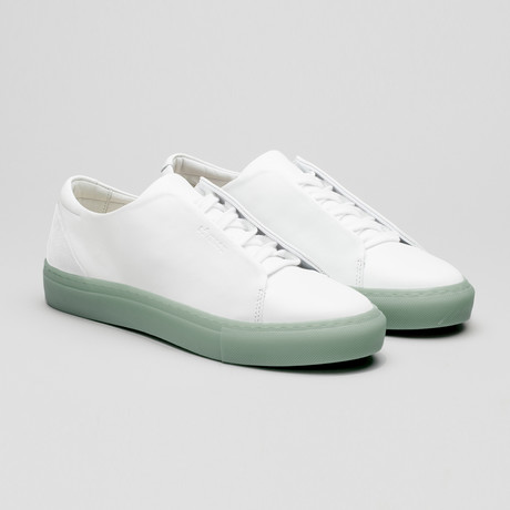 Minimal Low Sneakers V15 // White Leather + Pastel Blue Sole (Euro: 40)