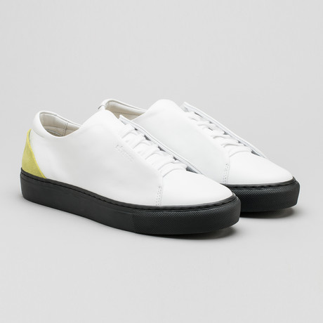 Minimal Low Sneakers V2 // White Leather + Lime (Euro: 40)