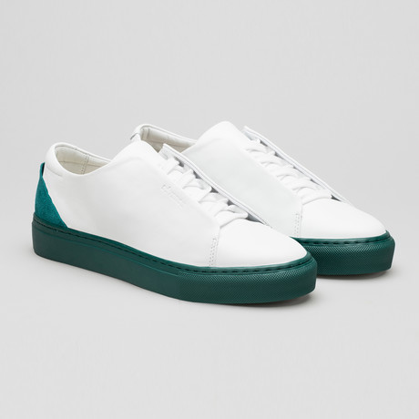 Minimal Low Sneakers V12 // White Leather + Emerald Green Heel + Green Sole (Euro: 40)