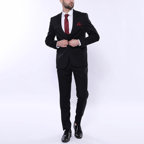 Logan 3-Piece Patterned Slim Fit Suit // Black (Euro: 42)