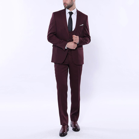Lucas 3-Piece Patterned Slim Fit Suit // Burgundy (Euro: 42)