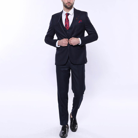 Jaxon 3-Piece Checkered Slim Fit Suit // Navy (Euro: 42)