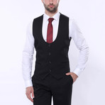 Logan 3-Piece Patterned Slim Fit Suit // Black (Euro: 58)