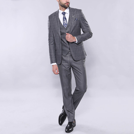 Carter 3-Piece Slim Fit Suit // Gray (Euro: 42)