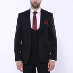 Logan 3-Piece Patterned Slim Fit Suit // Black (Euro: 50)