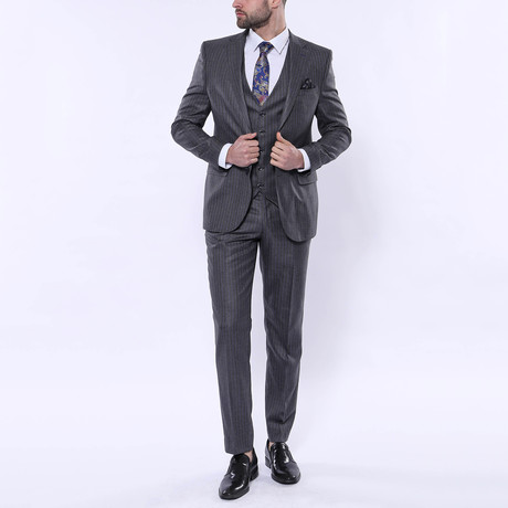 Aiden 3-Piece Stripe Slim Fit Suit // Smoked (Euro: 42)
