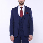 Elijah 3-Piece Patterned Slim Fit Suit // Navy (Euro: 42)