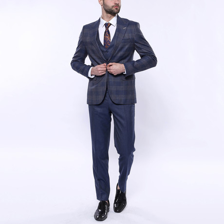Caleb 3-Piece Checkered Slim Fit Suit // Navy (Euro: 42)