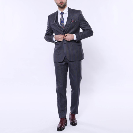 Sebastian 3-Piece Stripe Slim Fit Suit // Navy (Euro: 42)