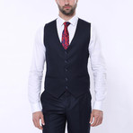 Jaxon 3-Piece Checkered Slim Fit Suit // Navy (Euro: 46)
