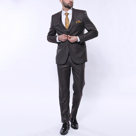 Samuel 3-Piece Stripe Slim Fit Suit // Brown (Euro: 42)