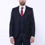Jaxon 3-Piece Checkered Slim Fit Suit // Navy (Euro: 48)