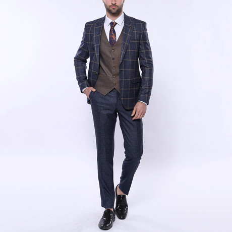 Hudson 3-Piece Slim Fit Suit // Navy (Euro: 42)