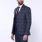 Caleb 3-Piece Checkered Slim Fit Suit // Navy (Euro: 48)