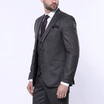 Ethan 3-Piece Stripe Slim Fit Suit // Smoked (Euro: 46)