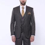 Samuel 3-Piece Stripe Slim Fit Suit // Brown (Euro: 46)