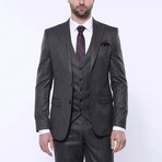 Ethan 3-Piece Stripe Slim Fit Suit // Smoked (Euro: 56)