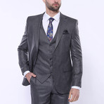 Aiden 3-Piece Stripe Slim Fit Suit // Smoked (Euro: 54)