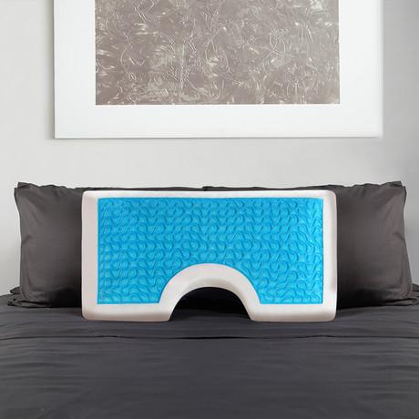 Moon Shoulder Gel Pillow // Blue (Queen)